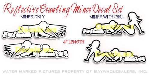 Crawling miner Reflective Hard Hat decal
