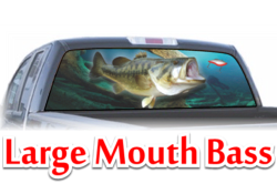 Large Moutn Bass View Thru Window Graphic