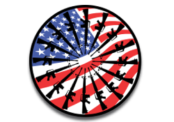 Circle AR-15 guns american flag