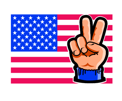 American Flag Peace Hand